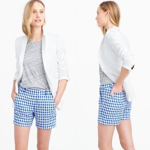 J crew Lightweight Shorts Gingham Linen Blue White